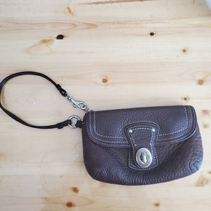 Brown Leather Coach Wristlet Madison